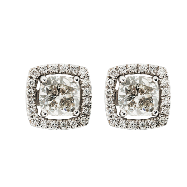 HALO CUSHION DIAMOND EARRINGS