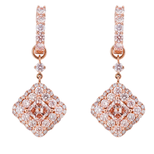 PINK DIAMOND DANGLING EARRINGS