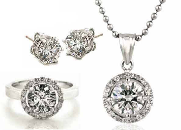 Clockwise from top left Stud earrings; Halo Pendant; Halo Ring