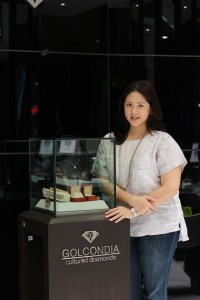 Teresa 'Mia' Florencio proudly presents luxury pieces from Golcondia Cultured Diamonds, which is now the exclusive distributing company of these sustainable gems in the Philippines