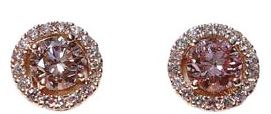 French pave stud earrings with ultra-rare fancy orange-pink cultured diamonds.